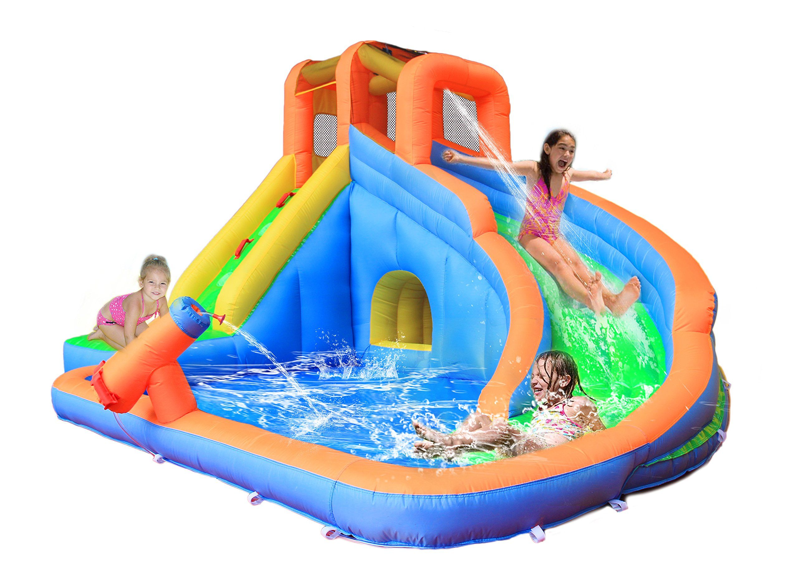 bestparty inflatable twin falls water slide bouncer and pool with