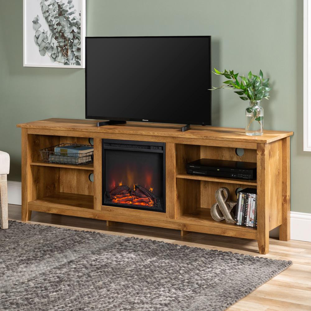 Walker Edison Furniture Company 70 In Wood Media Tv Stand Console With Fireplace Charcoa Fireplace Tv Stand Walker Edison Furniture Company Tv Stand Console