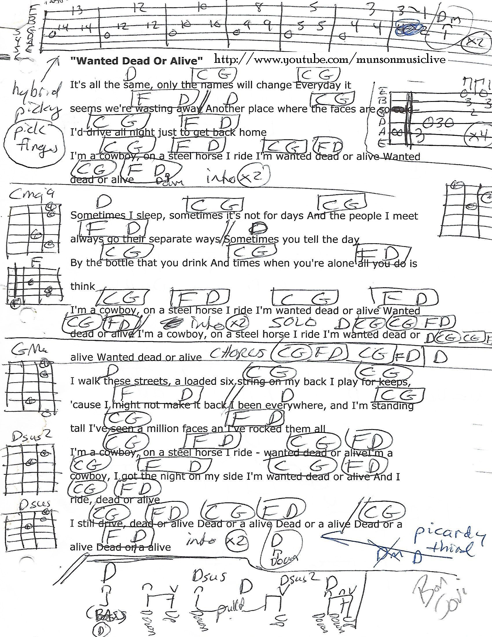 Wanted Dead Or Alive Lyrics And Chords : wanted, alive, lyrics, chords, Whitehouse, (lukew0414), Profile, Pinterest
