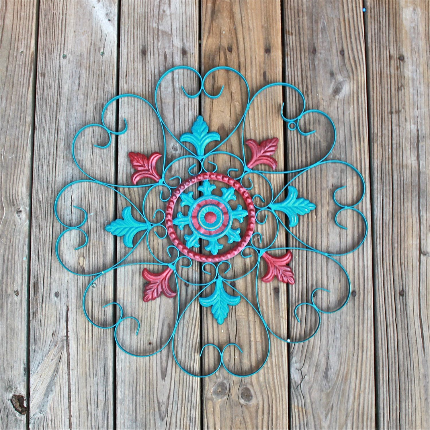 Metal wall decor teal blue red distressed shabby chic - Exterior wall decorations for house ...
