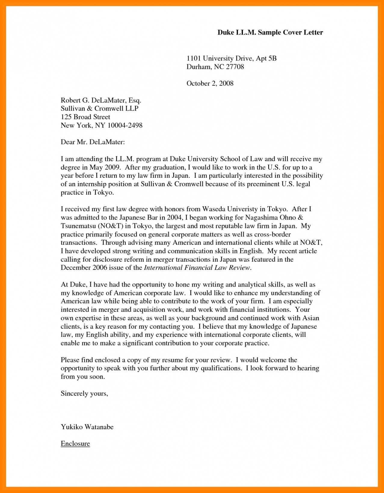 Format Of Motivation Letter Example For University