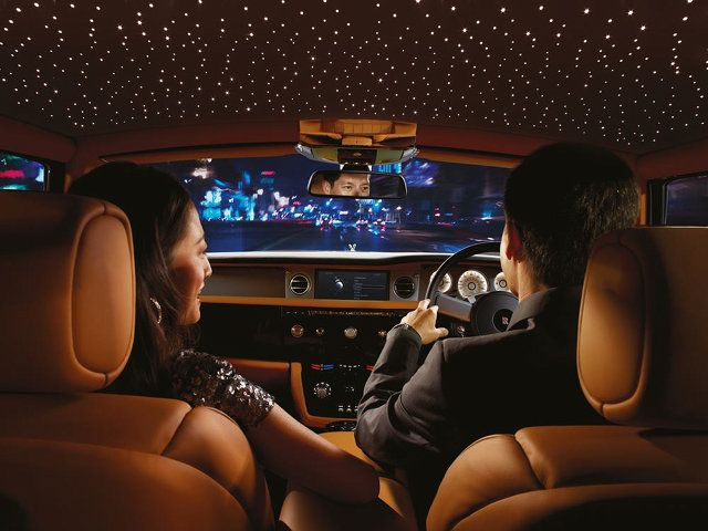 My Daughter would love this - Fiber-Optic Stars in Rolls Royce ceiling.