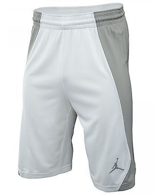 fd23cb9ab11 Nike Jordan Jumpman Game Mens 688535-100 White Grey Basketball Shorts Size  XL