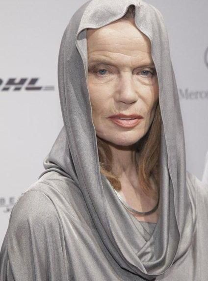 Veruschka 2014 and still working the cat walk. 'It has not been hard to grow older, because I believe if you have something you believe in that will keep you alive far more than plastic surgery or Botox. I know that there are many things I could do, but I'm not interested. It's more important to be loving and to have a lively mind.""