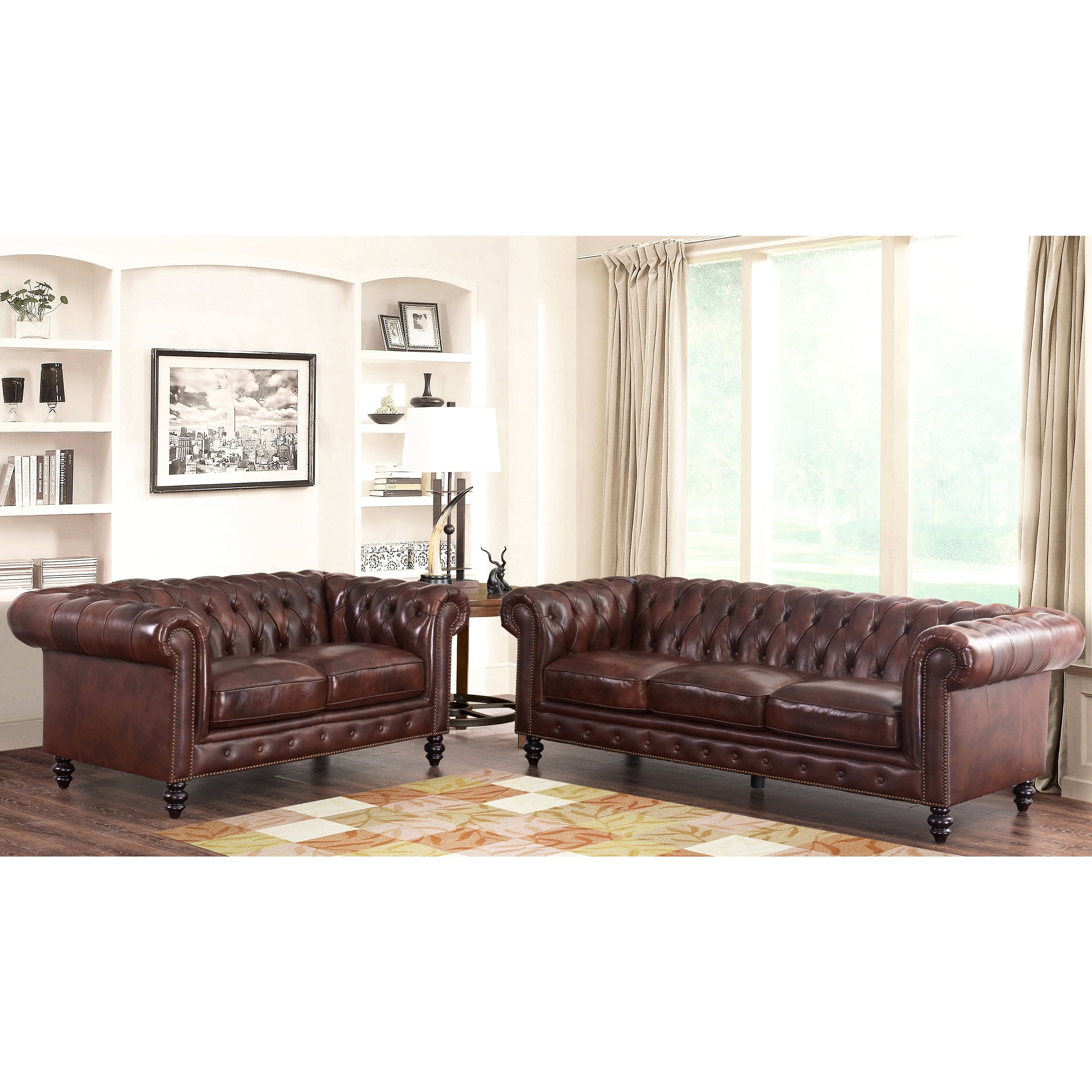 Abbyson Grand Chesterfield Brown Top Grain Leather 2 Piece Living