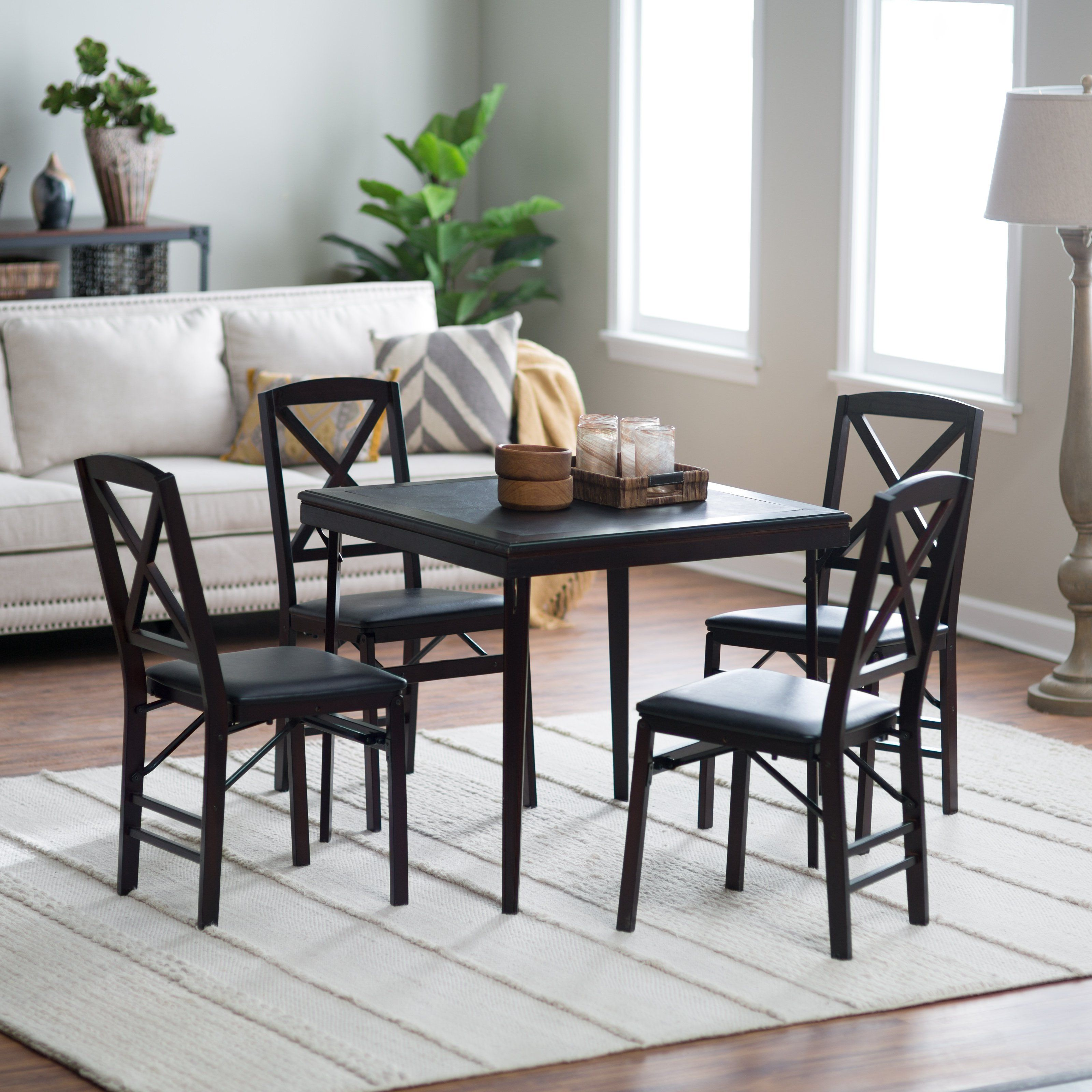 Cosco 5 Piece Bridgeport 32 Inch Wood Folding Card Table Set Card Table And Chairs Card Table Set Table And Chair Sets