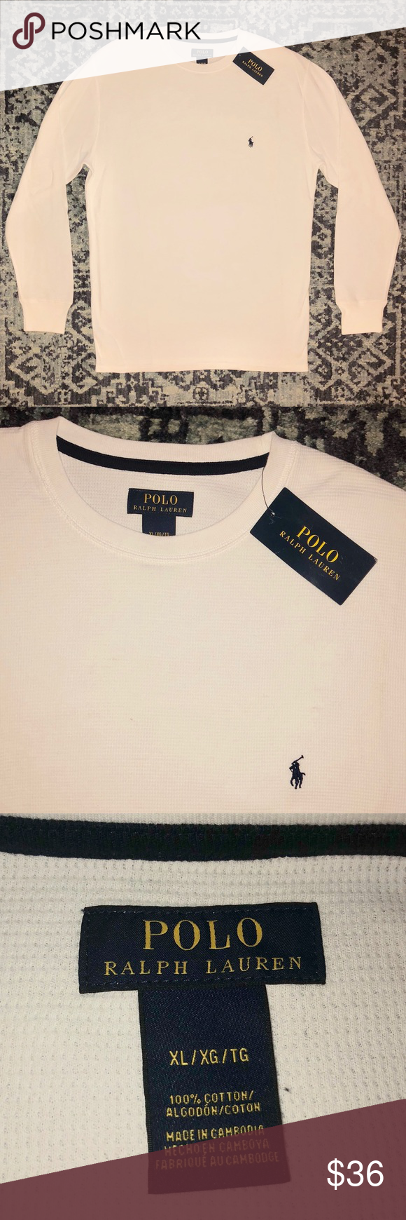 •polo SizeXl Thermal Lauren• White Lauren Polo Ralph uFT3lKJc1