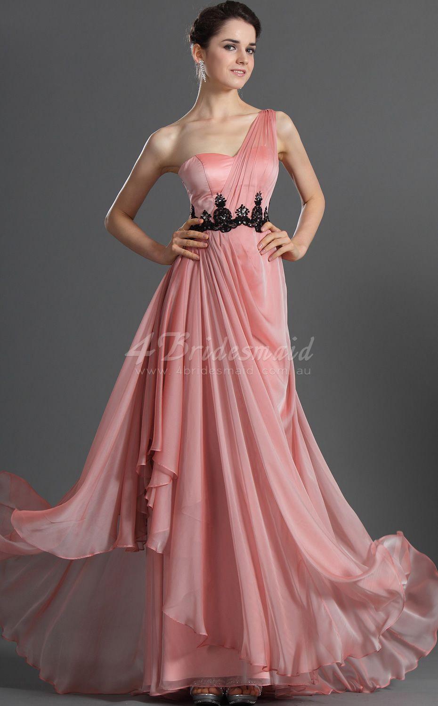 Aline one shoulder long candy pink satin chiffon bridesmaid dresses