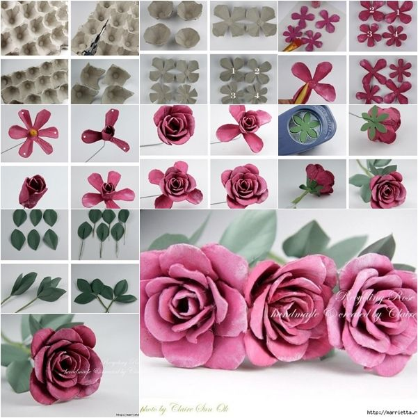 rosen eierkarton basteln pinterest eierkartons rose und blumen aus papier. Black Bedroom Furniture Sets. Home Design Ideas