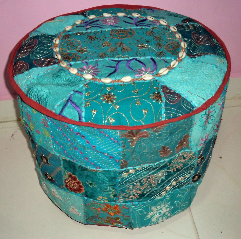 INDIAN HANDMADE ROUND FLOOR SEATING POUF BOHEMIAN PATCHWORK OTTOMAN (UNFILLED) #Handmade #Traditional