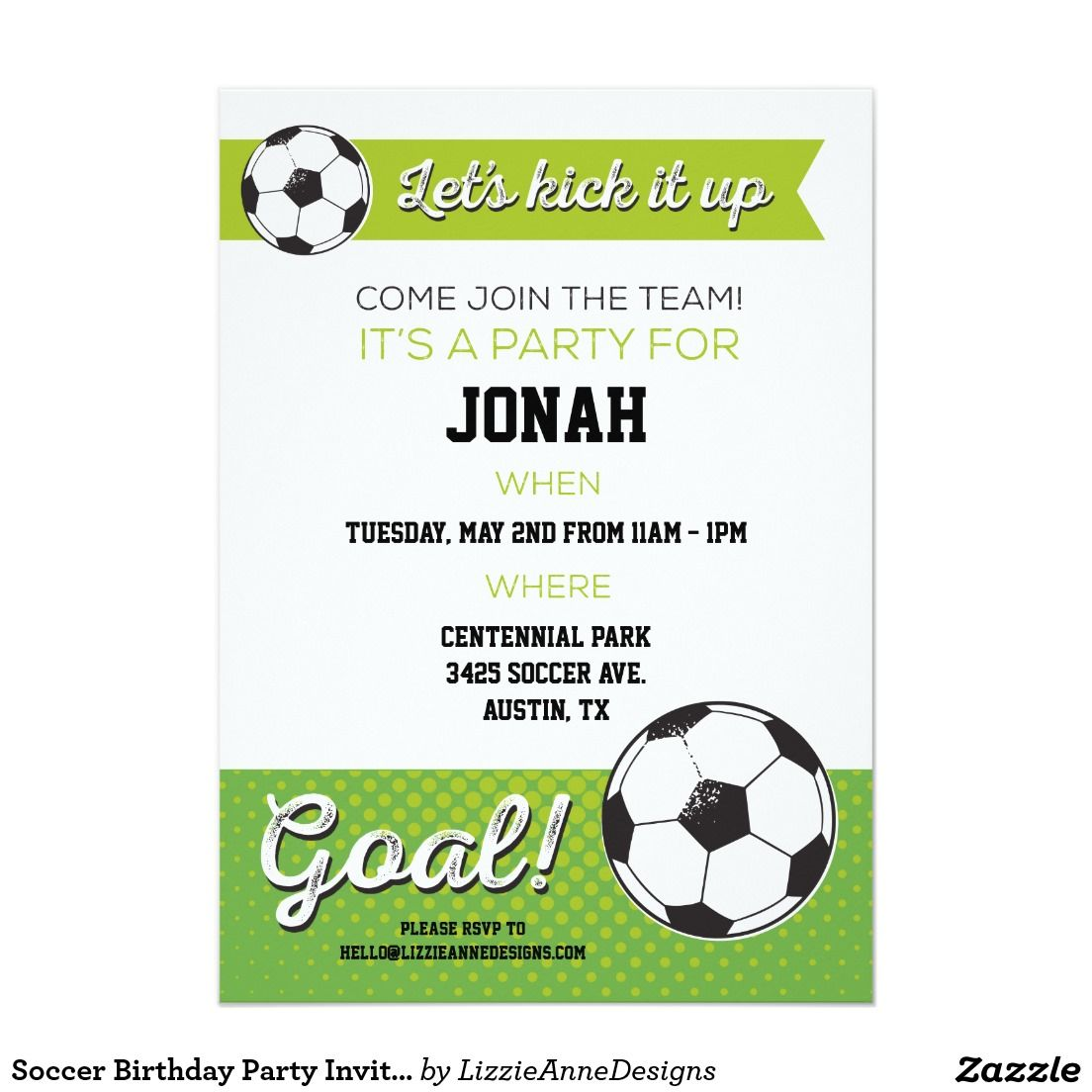 Soccer Birthday Party Invite 5x7- Boy | Party Invitations and ...