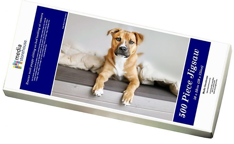 Photo of Jigsaw Puzzle-Rescue mutt puppy sitting on bed looking at camera-500 Piece Jigsaw Puzzle made to order