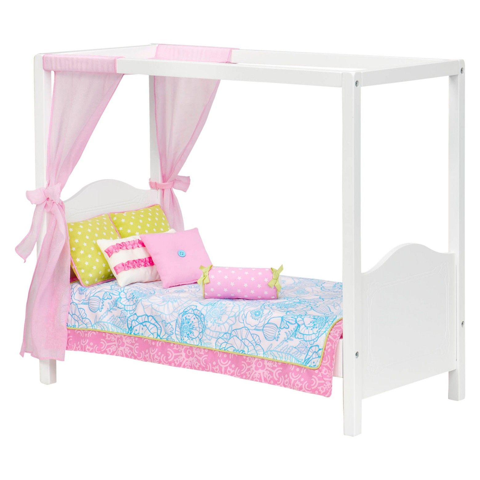 Our Generation My Sweet Canopy Bed Blue & Pink Floral