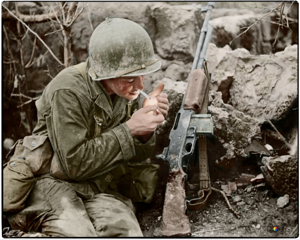 Image result for wwii us automatic rifleman colorized