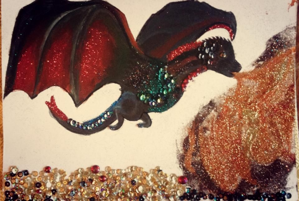 Dragon - acrylic, glitter, sequins