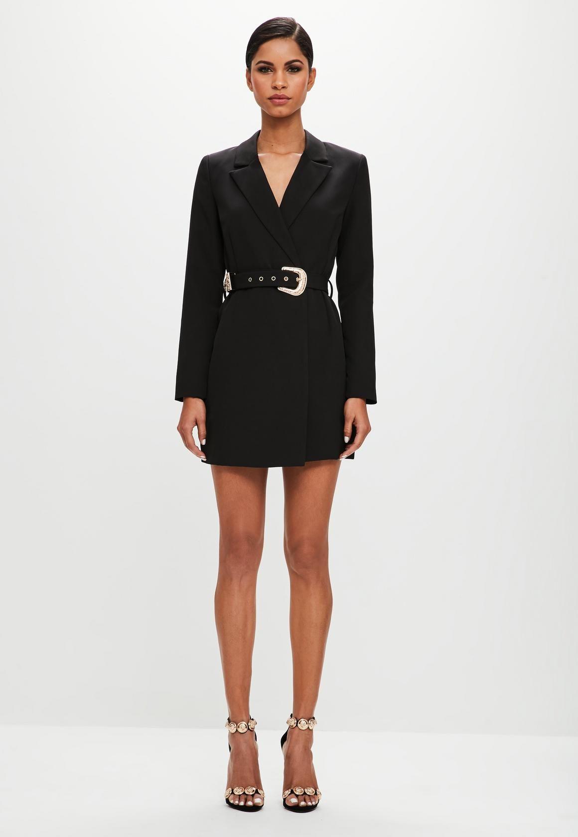 304e72da05d Missguided - Peace Love Belted Blazer Dress Black