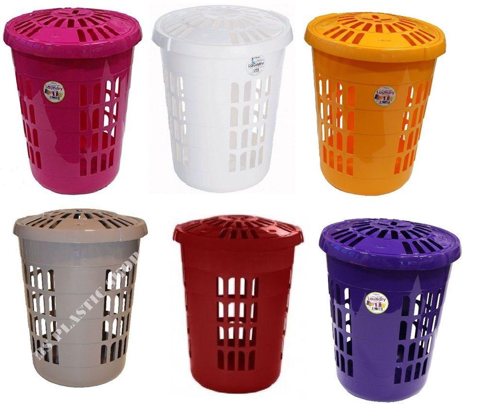 58l Delux Plastic Laundry Basket Washing Up Clothes Hamper Storage Bin Tidy Box