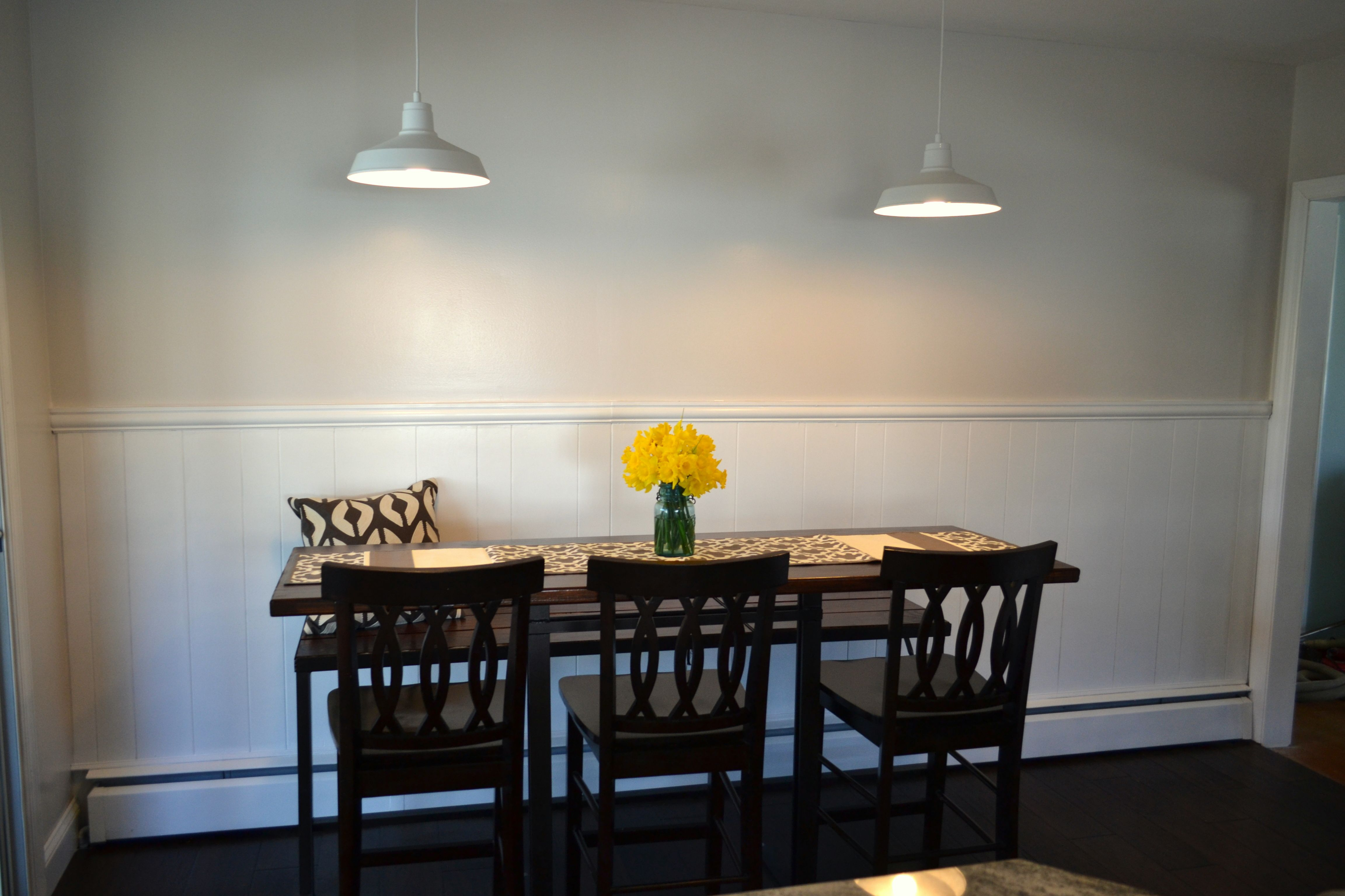 Handmade dining table with built in bench seat and white