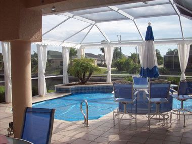Extended lanai cage curtains florida home pinterest for Pool lanai cost