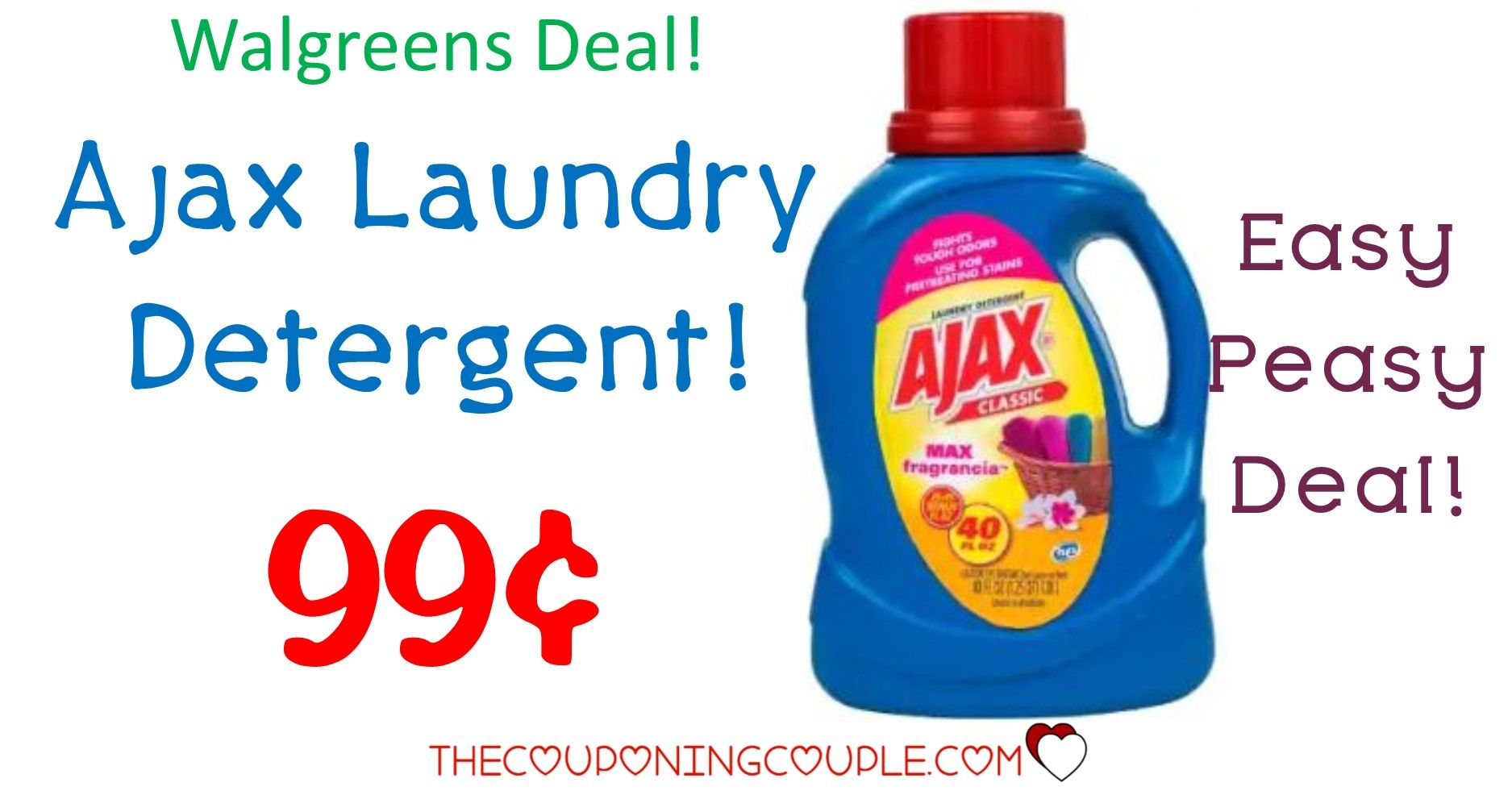 Ajax Laundry Detergent Only 0 99 With Walgreens Deal Laundry