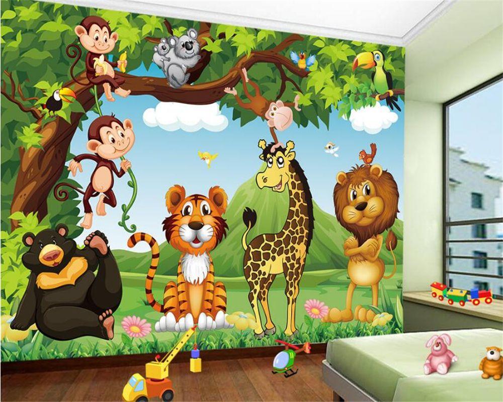Beibehang Custom Wallpaper Cartoon Animal World Children Room Murals Living Room Bedroom Televisio Murales Cameretta Neonato Murales Per Bambini Pittura Pareti 3d wallpaper designs for kids room