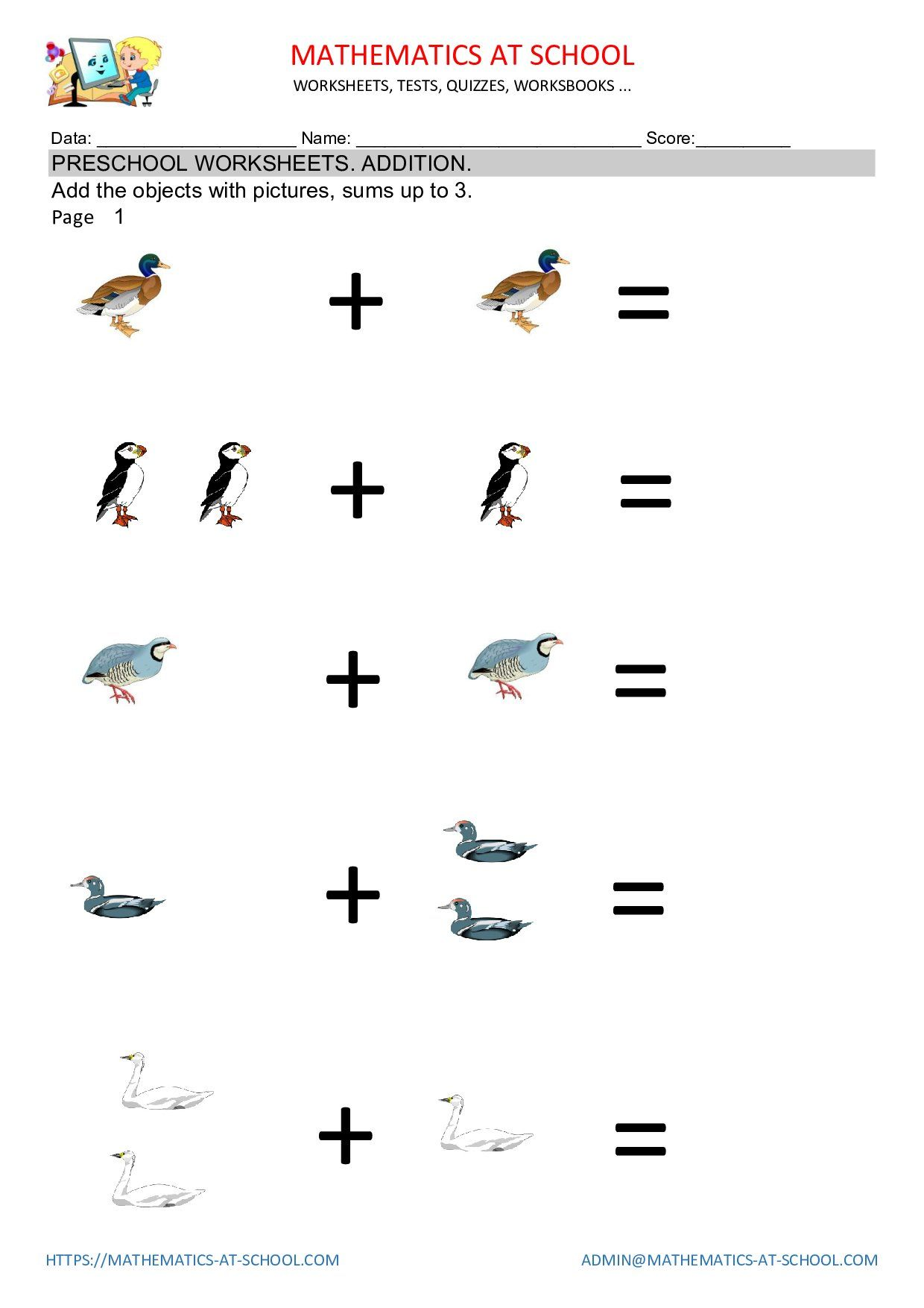 Preschool Math Worksheets Addition Free Printable