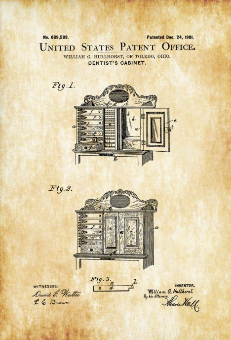 Dentists cabinet patent patent print wall decor dental dental office decorpatent officeantique printsmedical