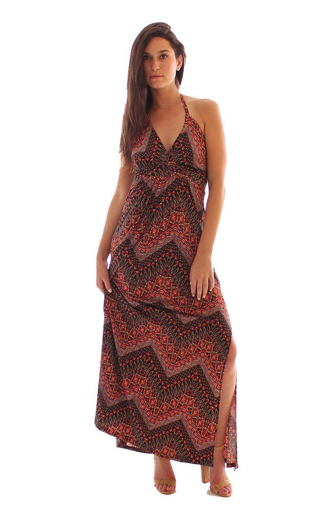 003b38b1c7 By Veronica M This Veronica M Halter Maxi dress is the easiest long printed maxi  dress for the spring and summer. Veronica M's classic slinky, ...