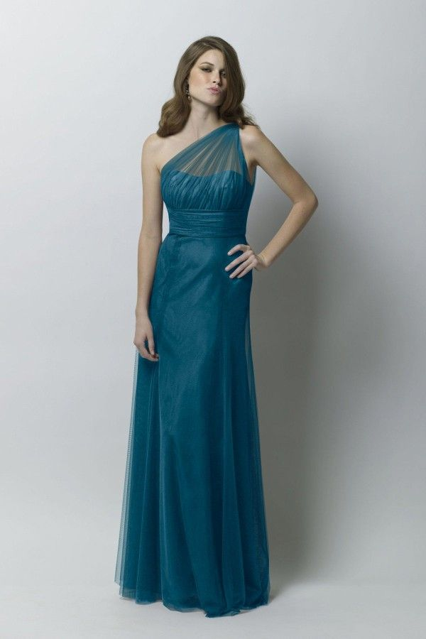 Teal One Shoulder Floor Length Bridesmaid Dress