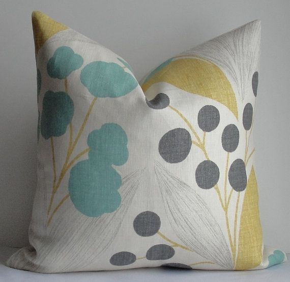 KRAVET Floral Turquoise Aqua teal charcoal gray Sunshine yellow Decorative pillow cover -Teal ...