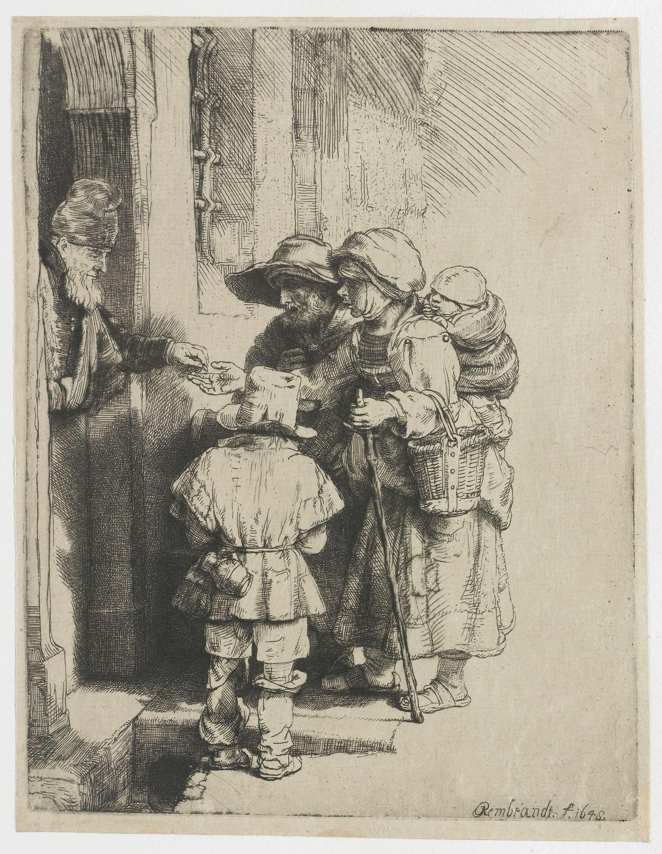 Rembrandt Harmensz. van Rijn   Een blinde draailierspeler met familie ontvangt een aalmoes, Rembrandt Harmensz. van Rijn, 1648  