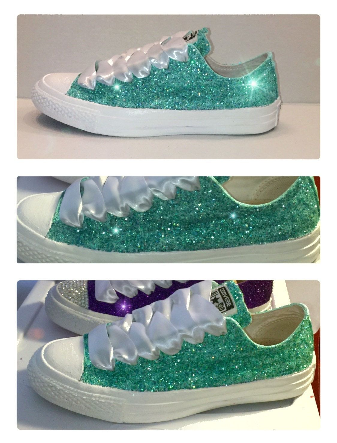 Women s Converse all star shoes handmade Sparkly glitter mint green  spearmint pastel chucks sneakers tennis wedding bride prom dance by  CrystalCleatss on ... 342c76d0d
