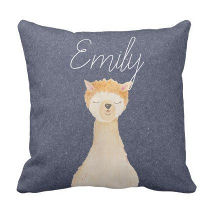 Watercolor llamas cute modern hipster throw pillow