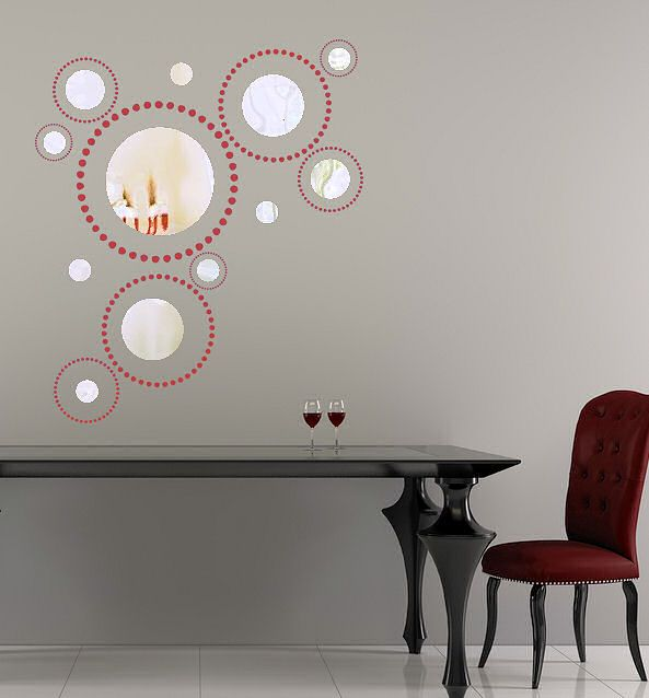 Modern Mirror Design With Wall Decal Dots Trading Phrases Wall