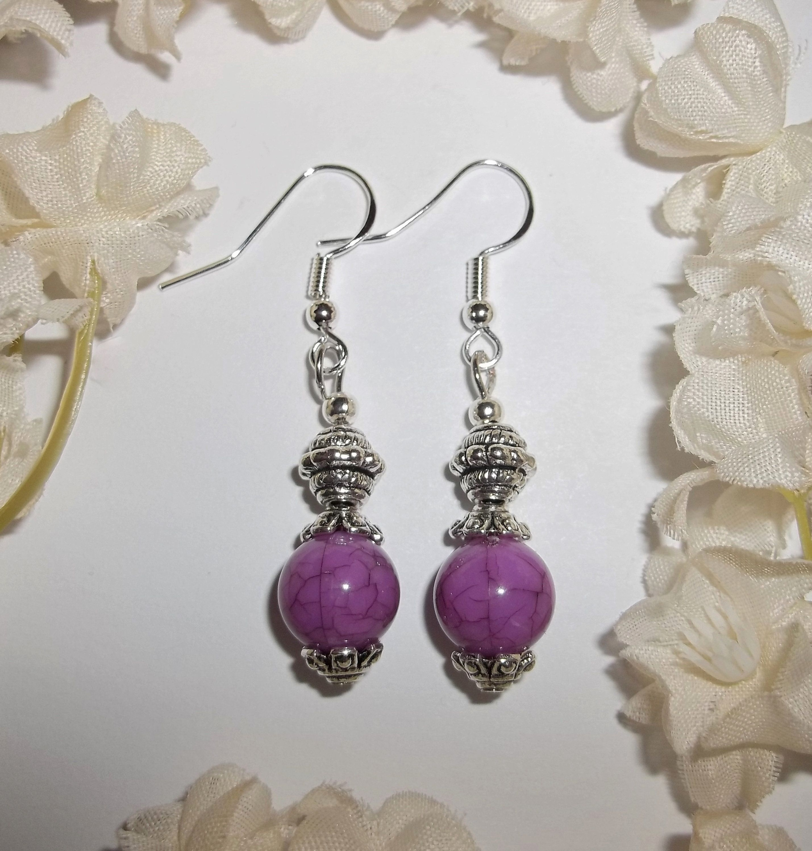 Newpurple crackle glass handmade fashion jewellery//drop//dangle earrings,costume