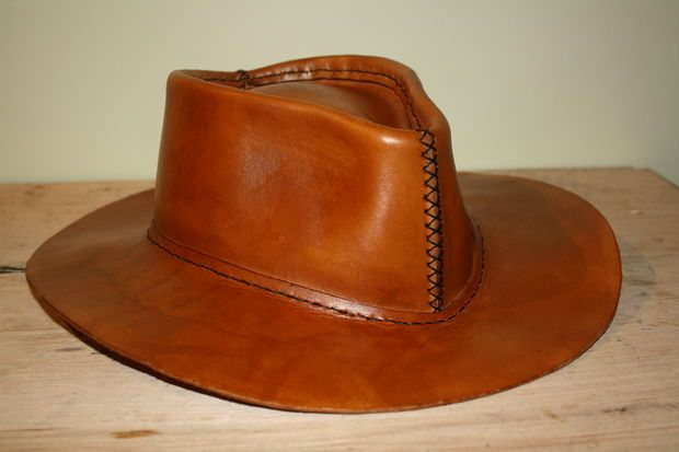 How To Make A Leather Hat Leather Cowboy Hats Leather Working Patterns Leather Hats