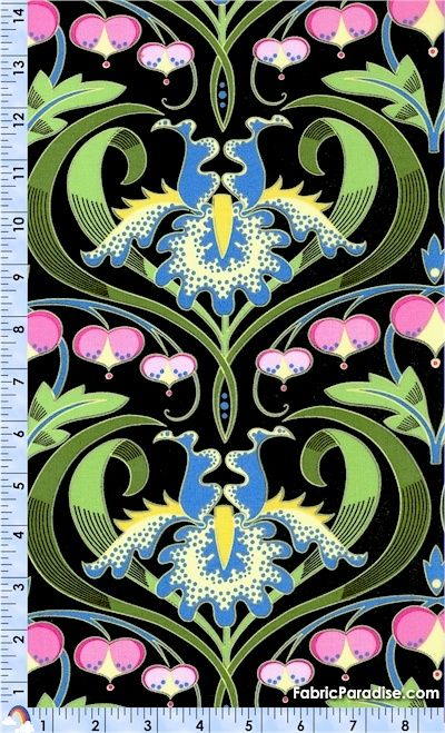 Jane Sassaman Bleeding Hearts Black Garden Divas Fabric