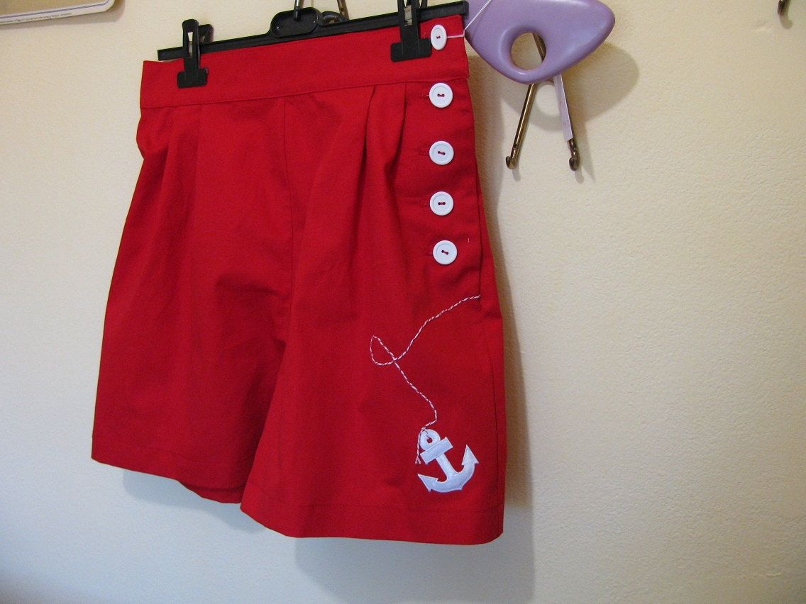 50s 40s Sailor Shorts - Pants Red Anchor White
