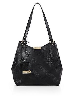 9e8f05812789 Burberry Canterbury Small Plaid-Embossed Pebbled-Leather Tote ...