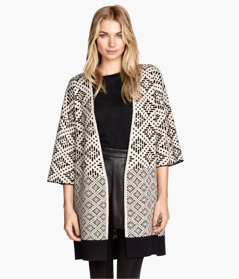 Long black & white jacquard-knit cardigan with 3/4-length sleeves ...