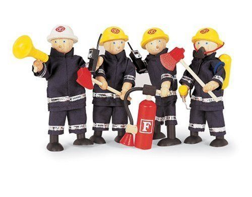 "Pintoy: Firefighters with Accessories, Toy Figure Plaset by Pintoy. $53.86. Safe: Pintoy toys are tested against the most stringent safety test including the European toy safety standard EN71 to ensure physical and mechanical safety.. They stand 5"" tall and have moveable limbs and figures will fit in the Pintoy wooden Fire Engine (sold separately).. Eco-friendly: Pintoy produces their toys in Thailand with eco-friendly chemical-free rubberwood from latex plantations.. Ma..."