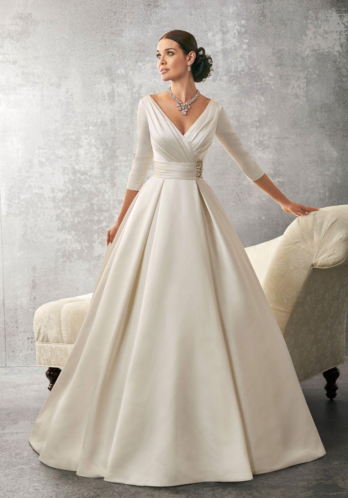 Wedding Dress Idea White Dupion Silk Fabric Use Covered Ons Rather Than Rhinestone Full Length Sleeves