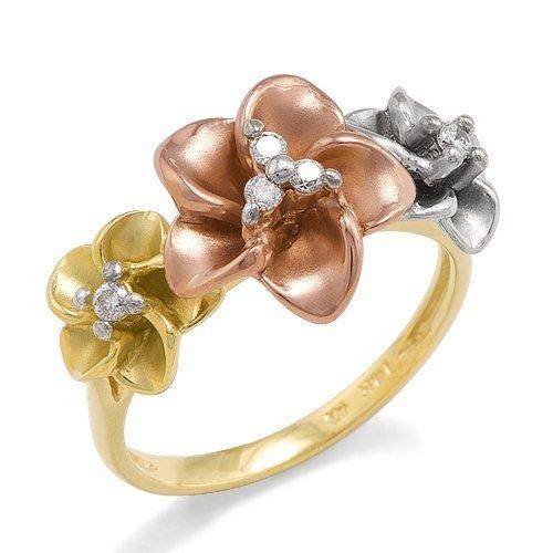 Womens Fashion Jewelry Diamonds and Gemstones Plumeria Ring