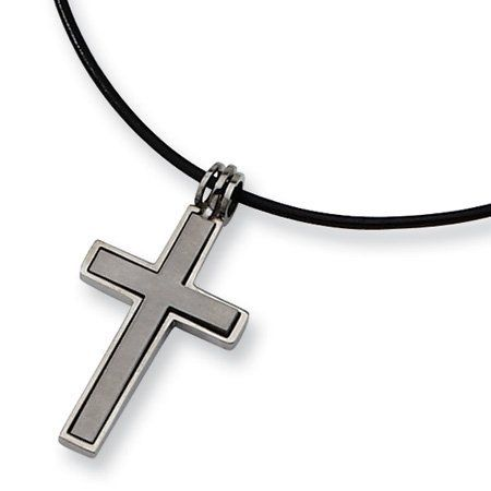 Bonyak Jewelry 18 Inch Rhodium Plated Necklace w// 6mm Sterling Silver Beads and Cross