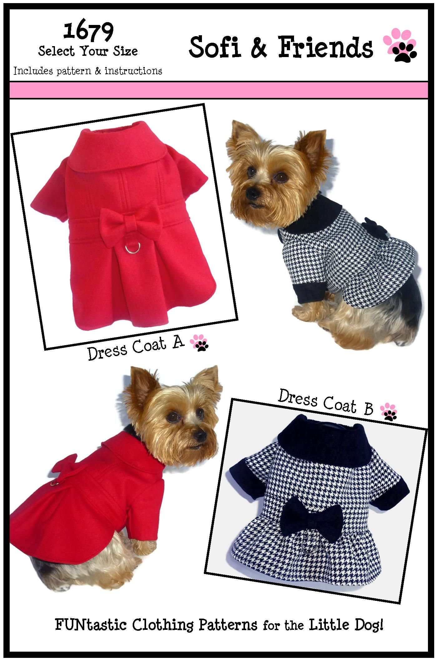 Dress Dog Coat Pattern 1679 * Small & Medium * Dog Clothes Pattern ...