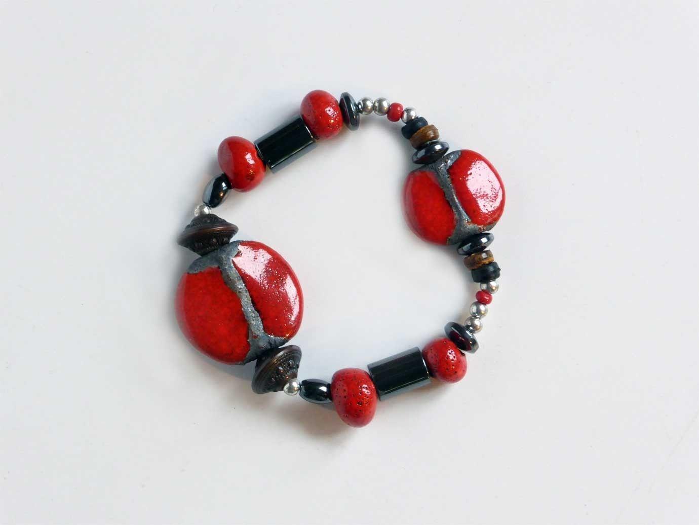 bijoux artisanaux bracelet lastique en c ramique raku h matite m tal argent et bois raku. Black Bedroom Furniture Sets. Home Design Ideas