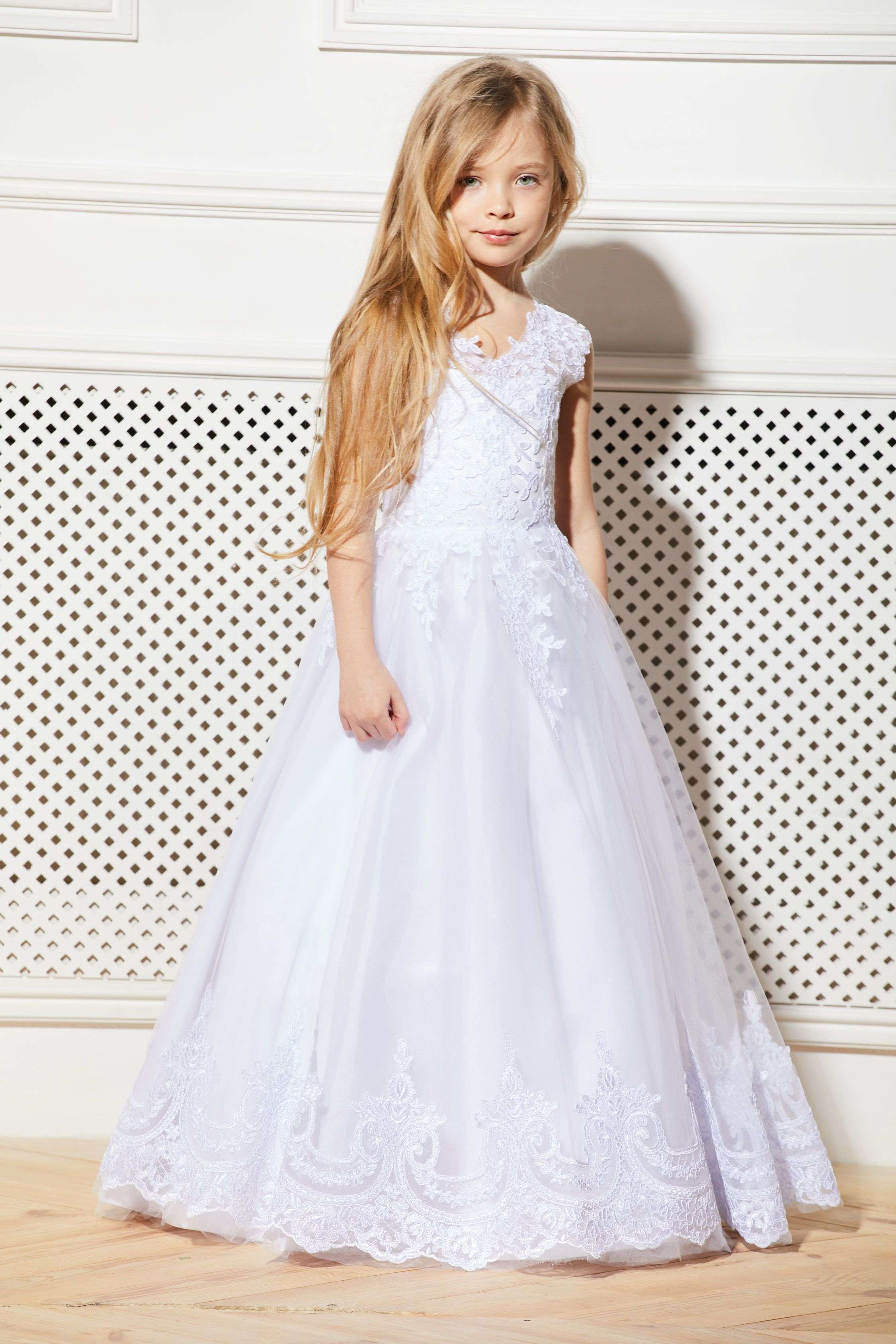 6838dd68e White Flower Girl Dress Tulle Tutu Birthday Wedding Kids Guipure Satin Lace  Junior Bridesmaid Ballerina Baby Formal Party Prom Occasion