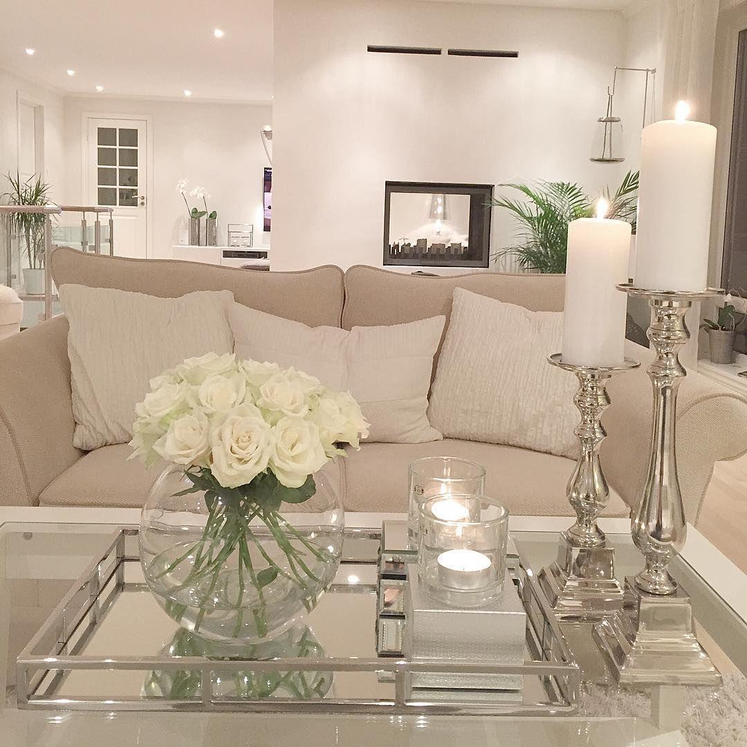 White Decor Living Room Couchtisch Dekorieren Pinteres
