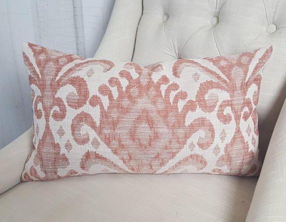 26X26 Pillow Insert Coral Throw Pillow Ikat Pillow Lumbar Accent Throw Cover 9X20 9X22