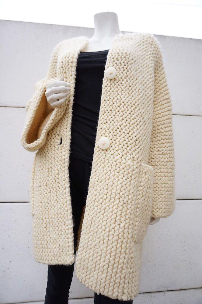 gilet boule manteau laine fait main tricot point mousse oversized 38 40 42 coat mamamuce